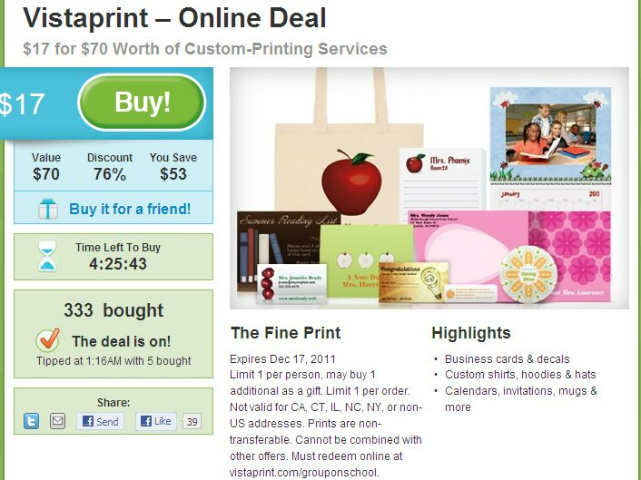 Vistaprint all4savings hot vistaprint deal 17 for 70 in product reheart Gallery