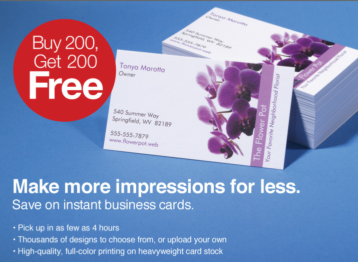 HOT Staples Buy 200 Get 200 business cards free All4Savings